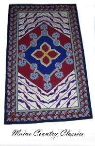 Vintage GEOMETRIC HOOKED RUG Signed LT & Dated 1954