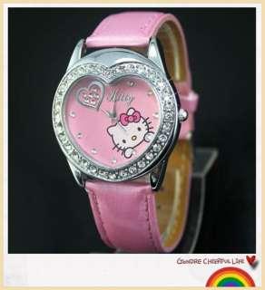 5pcs Fashion HelloKitty Bling Crystal Girl Heart Shaped Quartz wrist