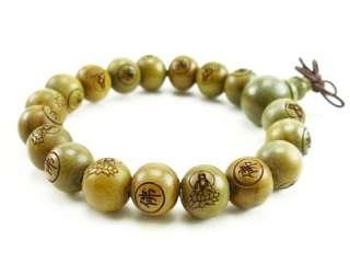 Long Tibetan 19 Green Sandalwood Carved Buddha Prayer Beads Mala