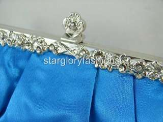 Jeweled Frame Lt Blue Satin Wedding/Prom Purse Clutch