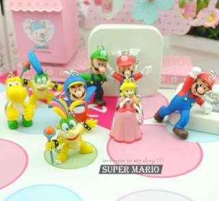 New 8 Super Mario Bros Luigi Action Figures Key Chain