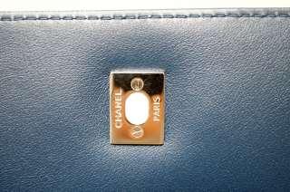 STUNNING 12C CHANEL DARK NAVY BLUE LEATHER XL JUMBO MAXI FLAP BAG