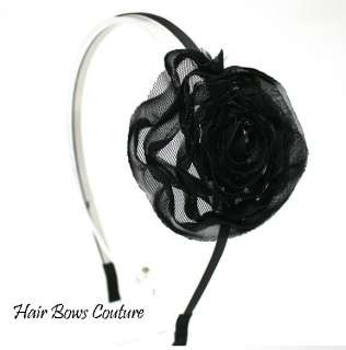 Black or Pink Chiffon Flower Bow Hair Headband