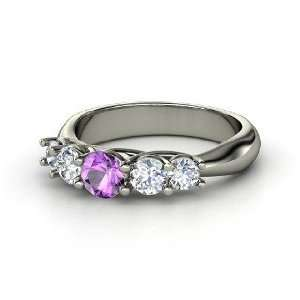 Oh La Lovely Ring, Round Amethyst 14K White Gold Ring with Diamond