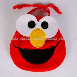 Sesame Street Elmo Head Plush Drawstring Bag Tote 1N3L