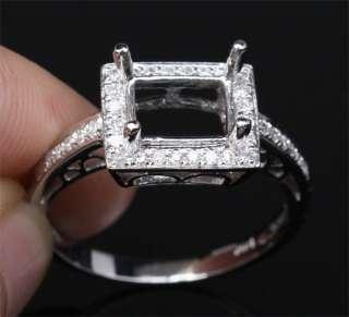 6x8mm EMERALD CUT 14K WHITE GOLD Pave DIAMOND ENGAGEMENT WEDDING SEMI