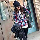 E6002 Japan Top Fashion Blue Plaid Long Sleeve Shirt