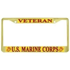 US Marines USMC Marine Corps Veteran Gold Tone Metal License Plate