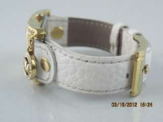 Kors MK 2213 Womens Goldtone Crystal Accent White Leather Charm Watch