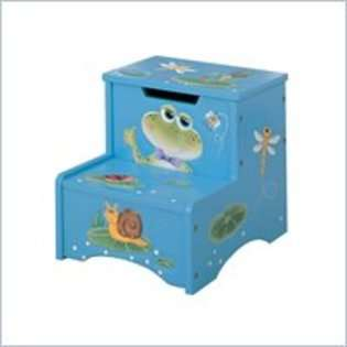 Design Teamson Kids Froggy Hand Painted Kids Step Stool with Storage