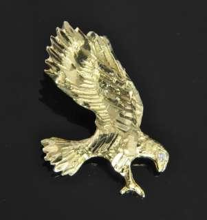Estate Vtg 18K Gold Diamond Eagle Slide Charm Pendant