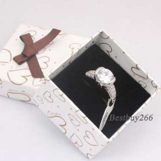 Crystal White Gold Plated Engagement Ring Womens Ring Size 6 7 8 9