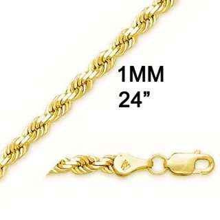 10K YELLOW GOLD SOLID DIAMOND ROPE CHAIN NECKLACE 1MM