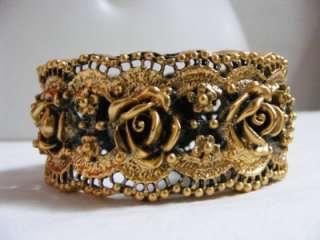Vtg TORTOLANI Gold Plated ROSE Flower Clamper CUFF Bracelet Chunky