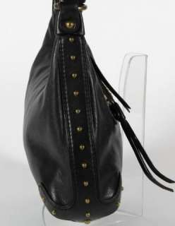 Michael Kors Black Pebbled Leather Studded Hobo Shoulder Bag Purse