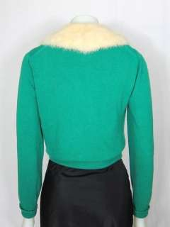 VTG 1950s 100% CASHMERE CARDIGAN SWEATER w MINK FUR COLLAR & JEWELED