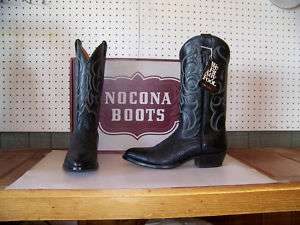 Nocona Mens Black Bullhide Dress Boots Made in USA