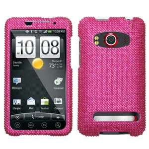 Hot Pink Crystal Bling Hard Case Cover for HTC EVO 4G