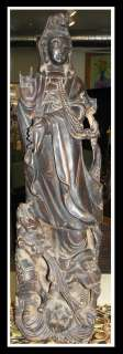Antique Chinese Carved Wood Kwan yin & Dragon Sculpture NR