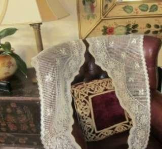 original PAIR of Vintage style Cotton LACE CURTAIN PANELS SASH