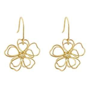 Floral Wire 14k Gold Plate Dangle Earrings