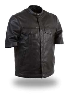 MENS BLACK LIGHTWEIGHT SHORT HALF SLEEVE LEATHER MOTORCYCLE SHIRT