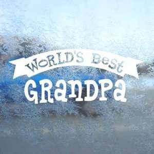 Worlds Best Grandpa White Decal Car Window Laptop White