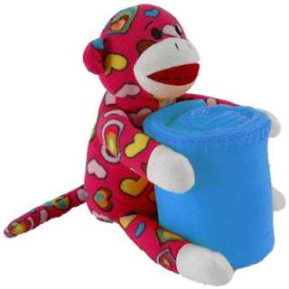Sock Monkey Doll 16 Pink Peace Design w Throw Blanket