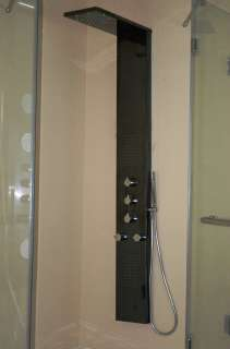 New Black Mirror Stainless Steel Shower Panel 3 Massage Body Jets