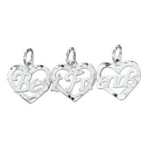 Silver Three Piece Break Apart Hearts Best Friends Charm Jewelry