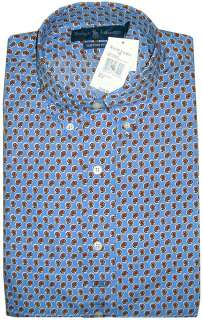 145 Polo Ralph Lauren Custom Fit Mens Button Front Shirt Blue Paisley
