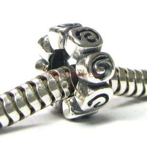Sterling Silver Flower Rose European Bead Charm 9mm 925
