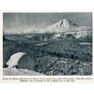 1912 Print Mount St Helens Twin Buttes Washingotn Cascades