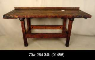 Original Industrial Machine Age Solid Wood Work Bench (01456).