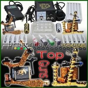 Complete Tattoo Kit 2 Machine Guns Power Inks Set D158