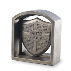 The Full Armor Of God Shield Bookend Plaque With Bronze