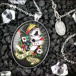 Dead Girl Muertos Sugar Skull Sterling Silver Necklace 486 LSOD
