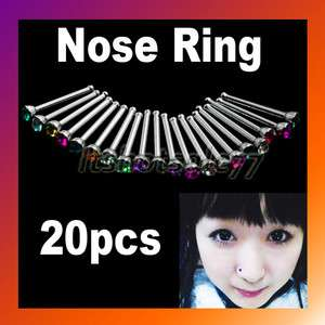 Nose Ring Bone Stud Stainless Steel Crystal Body Piercing Jewelry