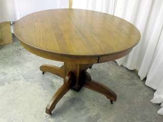 Antique Round Top Pedestal Table in Dark Oak Great Condition Country