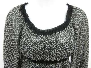 NWT MAX STUDIO Black White Print Ruffle Blouse Top XS