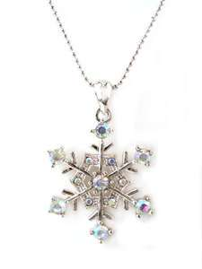New Winter Silver Tone AB Crystal Snowflake Necklace Christmas N1769