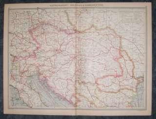 Beautiful 1910 map of Austria Hungary Commuications.