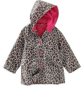 NWT Girls Carters Animal Print Hooded Raincoat   Size Med 5 6 leopard
