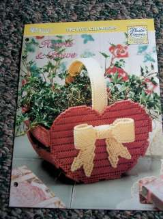 Plastic Canvas Pattern Hearts & Bows Planter Basket