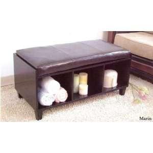 Espresso Finish Wood Ottoman Bedroom Bench with Storage
