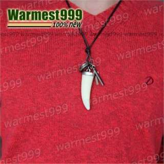Genuine Mens Leather Necklace Wolf Tooth Dog Tag Cross Pendant Choker