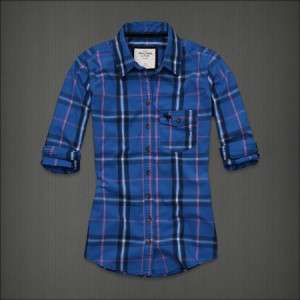 NWT Abercrombie Fitch Womens Top Plaid Solid Check Button Down Shirt