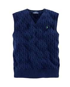 Ralph Lauren Childrenswear Boys Cableknit Vest   Sizes S XL