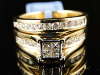 14K YELLOW GOLD LADIES PRINCESS CUT DIAMOND WEDDING ENGAGEMENT BRIDAL