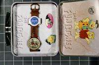 FRED Flintstones Cartoon FOSSIL WATCH + Barney Rubble PIN + Lunch TIN